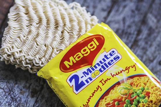 An open packet of Maggi 2-Minute Noodles, manufactured by Nestle India Ltd., June 2, 2015. Dhiraj Singh/Bloomberg News